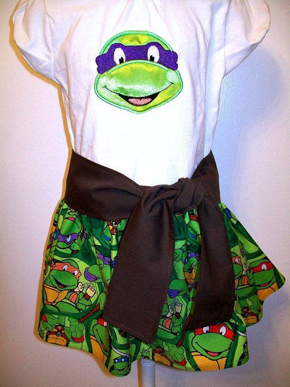 TMNT - Teenage Mutant Ninja Turtles - Outfit - T-shirt - Skirt - Brown Belt Sash Tie - 2T - 3T - 4T- 5