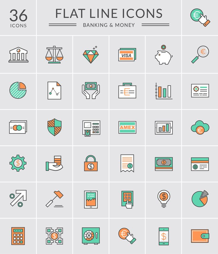 Bank and Money Icons Icons AI Bank EPS Financial Flat Free Graphic Design Icon Money PNG PSD Resource SVG Vector