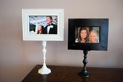 Cute Gift: Picture frame pedestals for relatives, Grandma, BFFs..Dollar store wooden frames, wooden candlesticks, gorilla glue, spray paint...just that simple. Match color to room decor....DIY tutorial with great photos!
