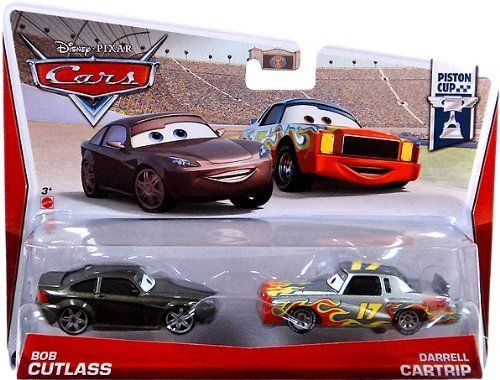Disney/Pixar Cars Bob Cutlass and Darrell Cartrip Diecast Vehicle, 2-Pack by Mattel. $14.25. Includes two collectible die-cast characters that share a key scene in the films. A great gift that any Cars fan will love. Kids will love reenacting their favorite scenes from the movies. Collect all your favorite Cars characters. Inspired by the hit Disney/Pixar Cars animated film series. From the Manufacturer                Disney/Pixar Cars Die-Cast 2 Packs Collection: All kids' fa...