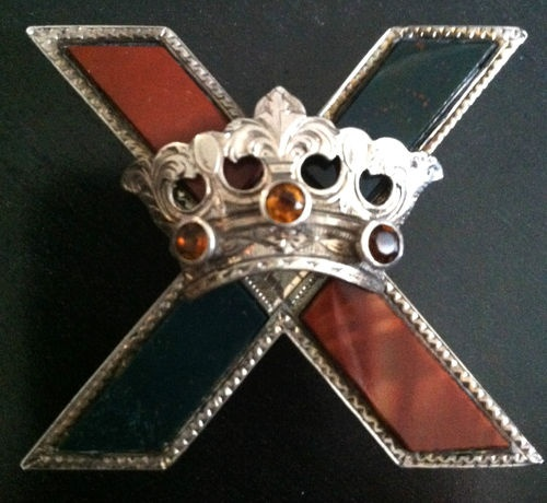 "Scottish Sterling Silver Agate ""St Andrews Cross with Crown"""