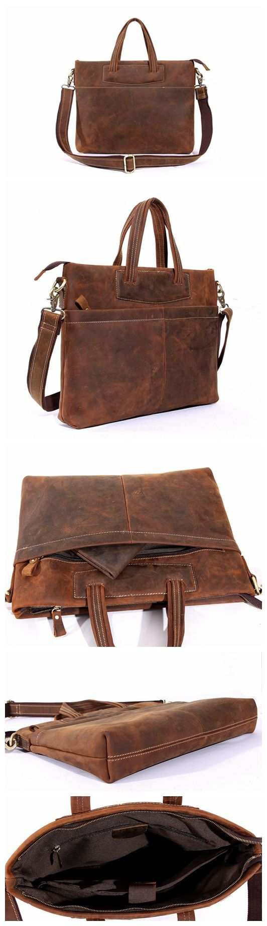 Vintage Handmade Top Grain Leather Mens Handbag Laptop Briefcase Messenger Shoulder Bag