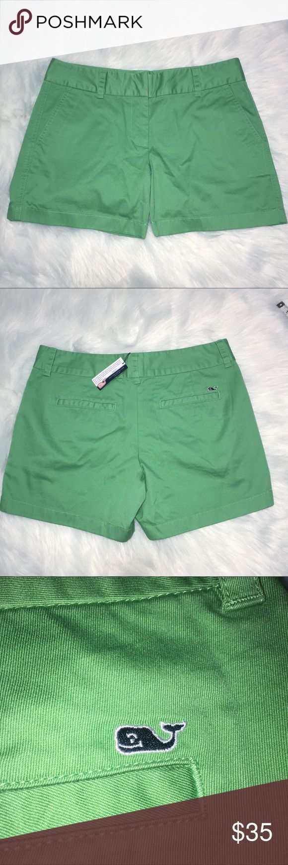 """Vineyard Vines Green Classic Twill Shorts. Size 6. Classic twill shorts by Vineyard Vines. Size 6.  Color is called Lucky.  ·100% cotton-twill ·Garment-washed for softness ·Front slash pockets ·Back welt pockets ·Inside waistband """"Every day should feel this good"""" stamp ·Embroidered whale on back pocket ·Hook & bar closure ·Approximate Measurements:  Waist Flat Across-15"""", Hips Flat Across-19"""", Inseam-Just under 5"""", Front Rise-8.5"""", Back Rise-13.5"""". ·New with tags. They do have markings on…"""