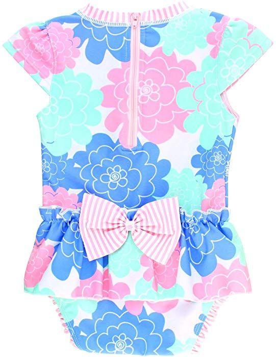 e3747f1a29ba5 Amazon.com: RuffleButts Infant/Toddler Girls Peplum Skirt One Piece Rash  Guard Swimsuit - Mint Seersucker - 12-18m: Clothing