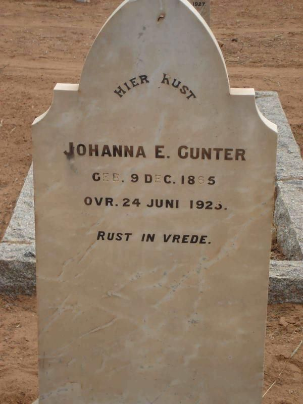 GUNTER Johanna E. 1865-1925 Northern Cape, PRIESKA, Main cemetery
