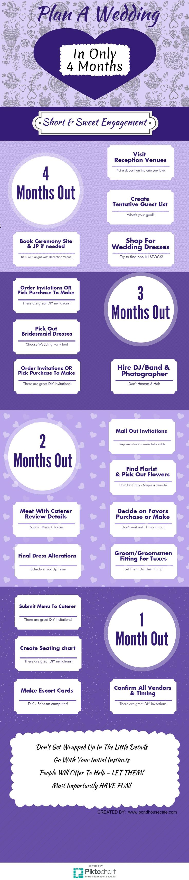 Plan a wedding in as little as 4 months! Short & Sweet Engagements are the way to go! Here is a helpful guideline to get you started! #wedding #shortengagement