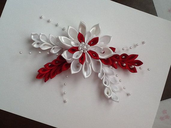 White & Red Kanzashi Flower Hair Barrette by LihiniCreations, $32.00