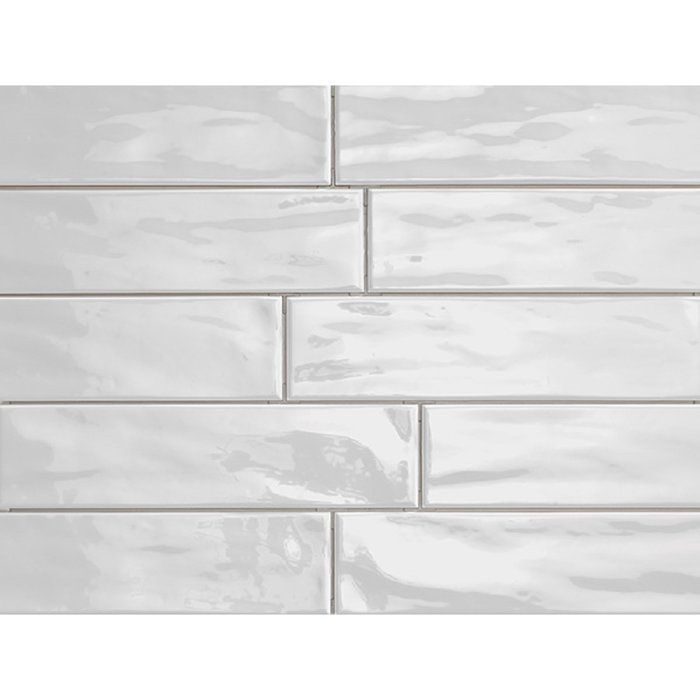 Organic Brick 3 X 12 Porcelain Subway Tile In Ice Shiny Kylpyhuone Sauna