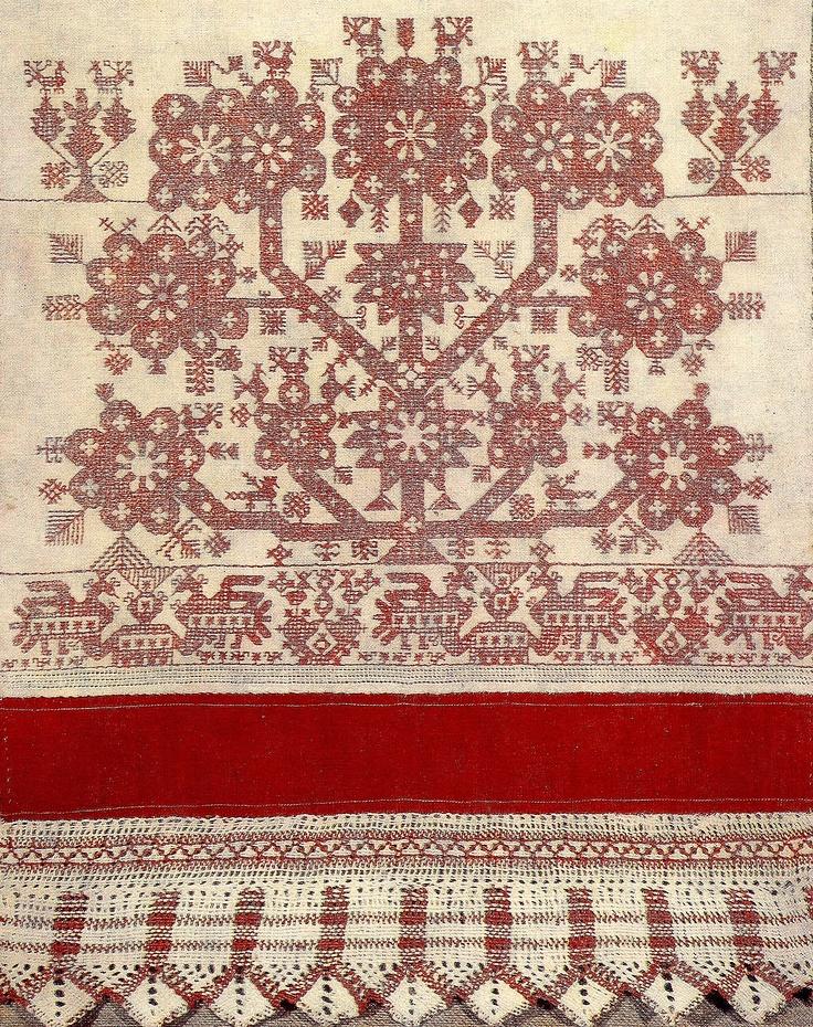 Россия.Конец полотенца.19 век/tree of life from Russian folk embroidery board of galina avrutevici