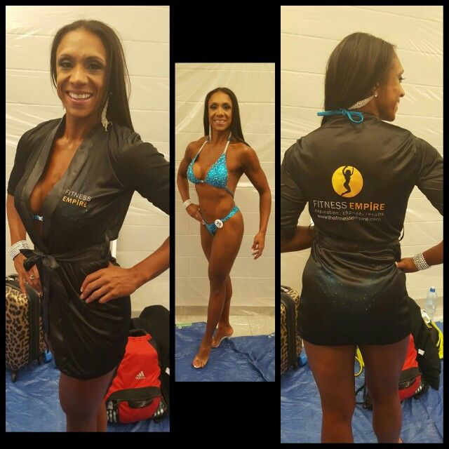 Posing client Ro, wearing our new Fitness Empire Competition, Pageant, & Swimsuit Robes. Place your orders now info@thefitnessempire.com or www.thefitnessempire.com