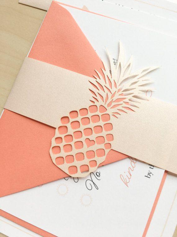 Ananas hawaïen mariage Invitation Suite échantillon ou par JustJurf