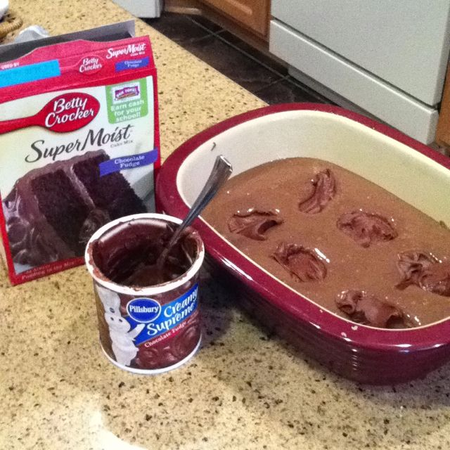 Use chocolate cake mix that requires oil, make cake mix, pour into pampered Chef deep dish covered baker, 1 can chocolate frosting - split into 6 dollops, cook in microwave for 15 mins uncovered. = molten lava cake!