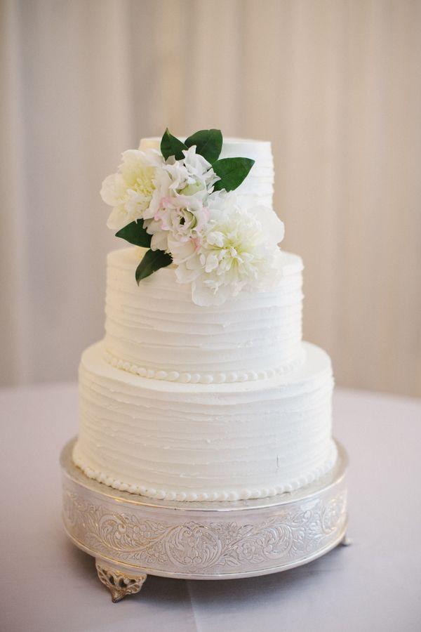 three tier #white wedding cake