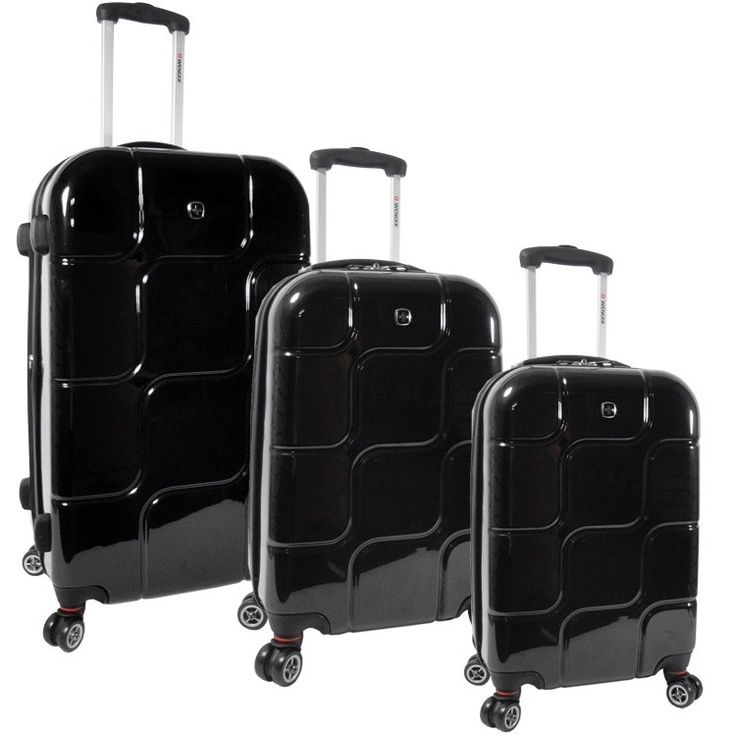 Swiss Gear Black Pearl Polycarbonate Luggage Set with 4 Multi-Directional Wheels