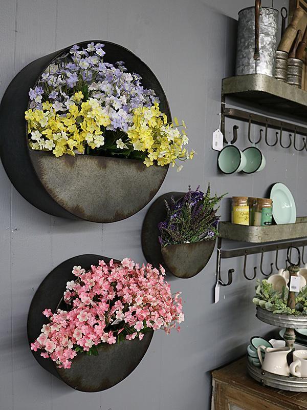 Round Galvanized Wall Pocket 3 Sizes Galvanized Decor Metal Wall Planters Galvanized Wall Flowers