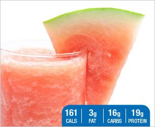 WATERMELON PROTEIN COOLER -  Ingredients: 1 scoop Designer Whey French Vanilla 1/4 cup almond milk 1/2 cup seedless watermelon 1 pkt stevia- sweetened to taste 8-10 ice cubes -  Directions: Combine ingredients in blender. Blend on high for one minute.