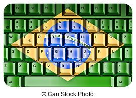 Computer Keyboard with Brazil Flag Concept