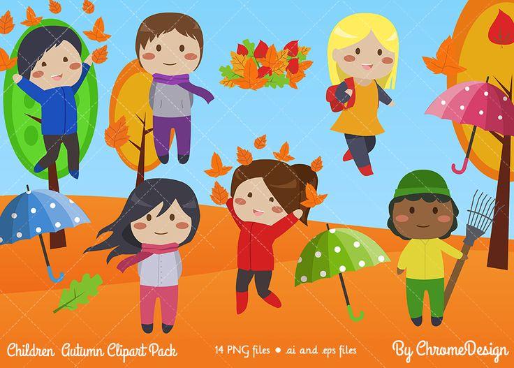 Autumn Children Clipart set - Fall Children Clipart set - INSTANT DOWNLOAD! https://www.etsy.com/listing/541740294/autumn-children-clipart-fall-children