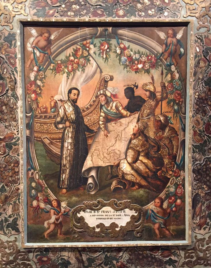 This Mexican enconchado (encrusted with shells) painting, ca. 1703, is a symbolic depiction of Saint Francis Xavier embarking for Asia. See it in Made in the Americas.