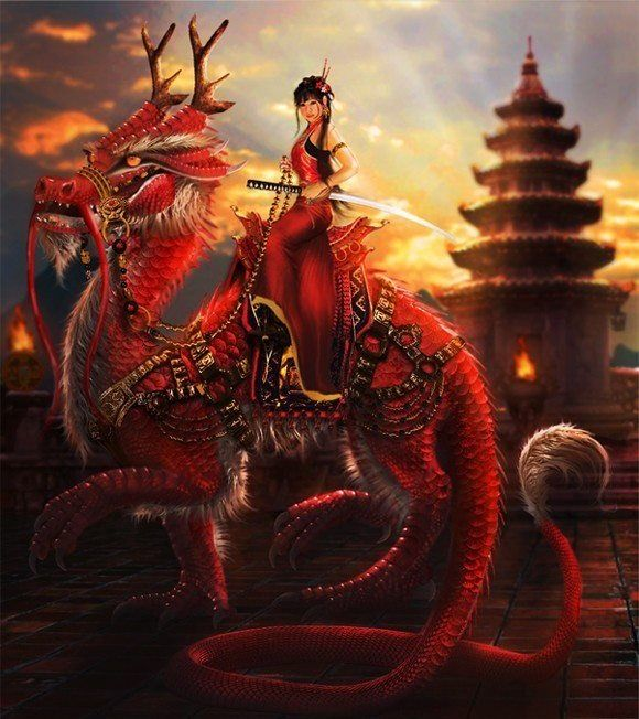 female chinese swordsman riding red oriental dragon