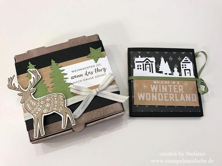 Stampin Up - Mini-Album - Leporello - Card - Mini-Pizzaschachtel - Stempelset Freude im Advent - Weihnachten - Karten-Sortiment Frohes Fest ♥ StempelnmitLiebe