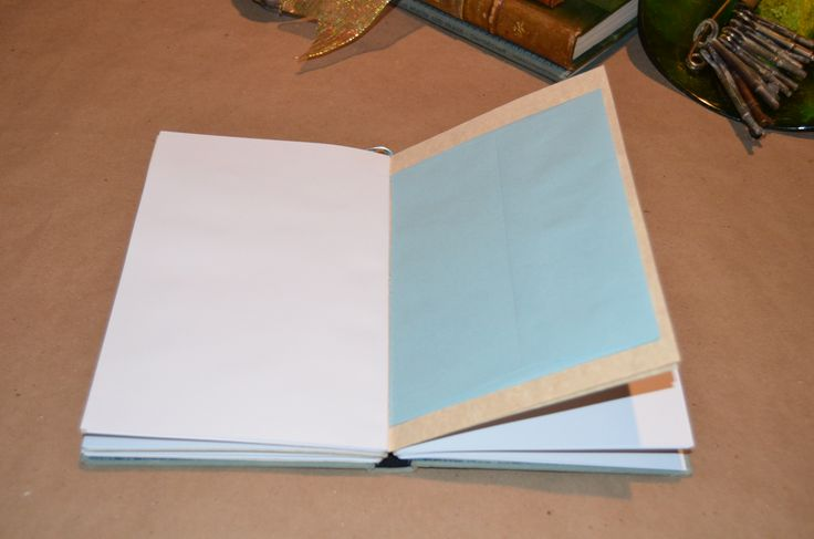 """Handcrafted """"Writer's Pages"""" journal with premium white paper and light blue envelopes for storage."""