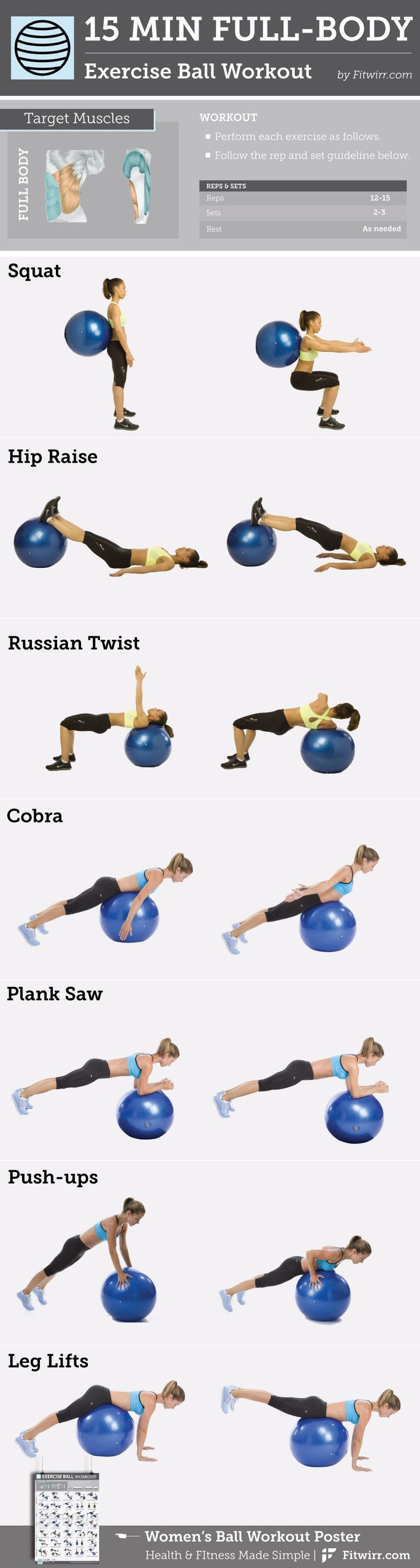 15-Min Stability Ball Workout to Tone Your Arms, Abs and Butt In 15 minutes, you… – Designer.ca