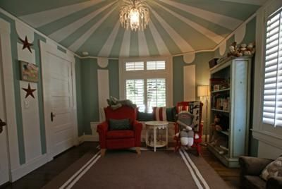 Vintage Circus Nursery with Big Top Ceiling Paint Technique: I got decorating ideas for my baby boy's vintage circus nursery theme from some vintage circus posters that I found. Until I spotted them I was having