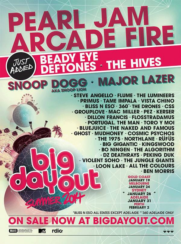 BIG DAY OUT 2014 LINEUP