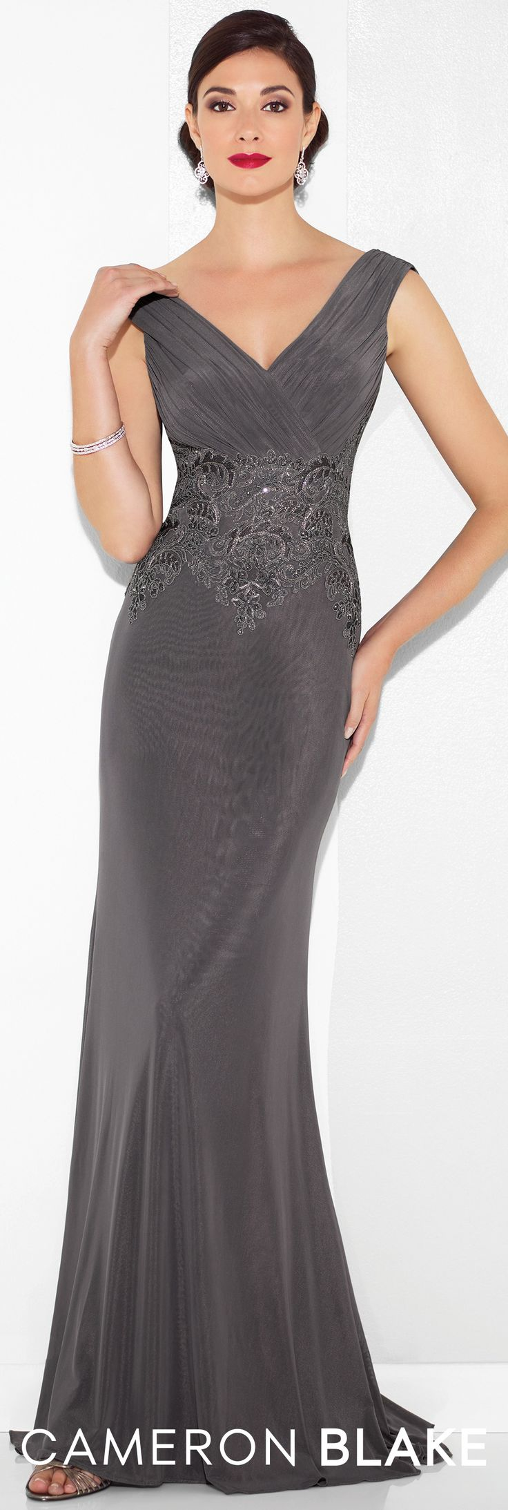 Formal Evening Gowns by Mon Cheri - Spring 2017 - Style No. 117611 - charcoal gray evening dress with ruched cap sleeves and bodice and draped cowl back