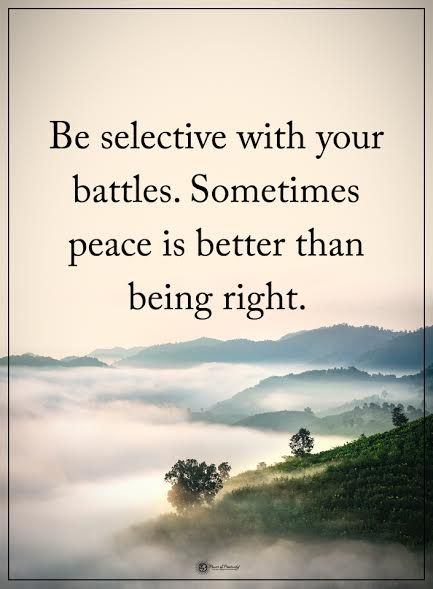 Be selective with your battles. Sometimes peace is better than being right.  #powerofpositivity #positivewords  #positivethinking #inspirationalquote #motivationalquotes #quotes #life #love #peace #innerpeace