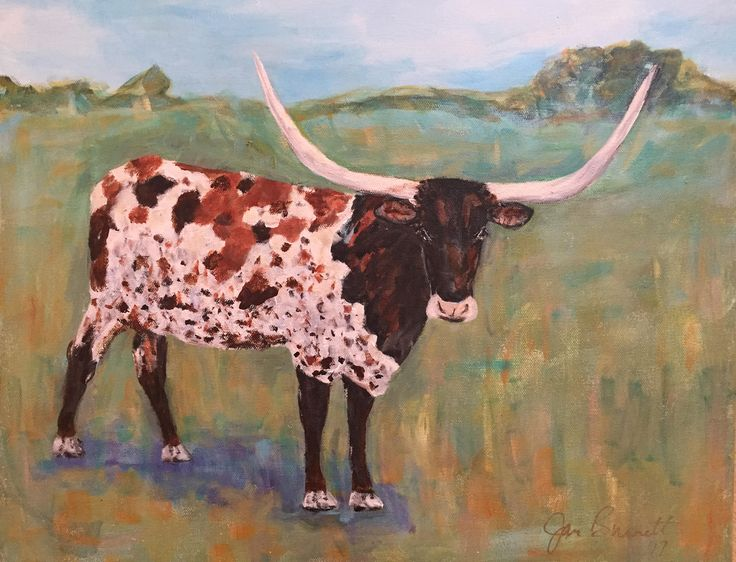 "Original Acrylic Painting ""The Longhorn"" 16 x 20 Gallery Canvas by JanBurnettArt on Etsy"