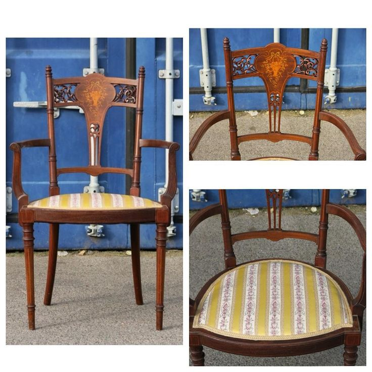 Старинный стул с подлокотниками, ажурной вставкой на спинке и маркетри Размеры: 49см / 45см, H85cm; высота сиденья от земли H42cm. Европа, ХХ век  24 000р