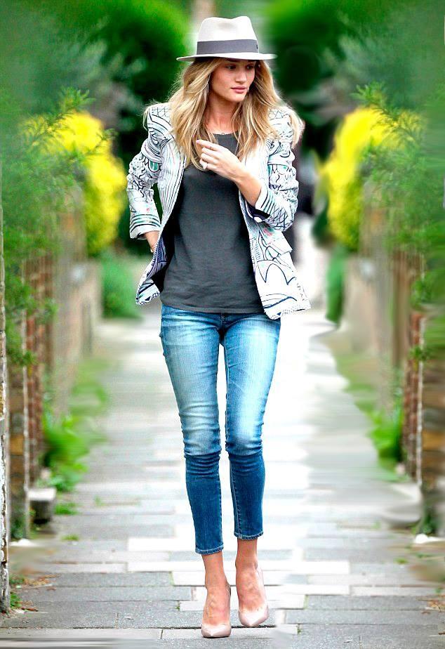 ***Rosie Huntington Whiteley in a Mary Katrantzou Jacket