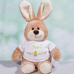 """First Easter Personalized 16"""" Brown Easter Bunny"""