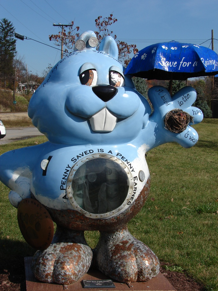 Punxsutawney, PA. there are 32 of these all around the town. we found 29/30 of them