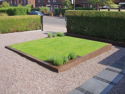 small square raised lawn