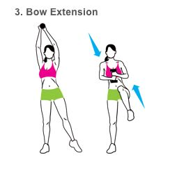 3. Bow Extension - Hold a dumb bell in both hands above your right shoulder and point your left foot out to the side (a). In one motion, draw your elbows down to lower the weight as you bend your left knee toward your chest (b). Reverse the movement to return to start. That's one rep. Do 10, then switch sides and repeat.