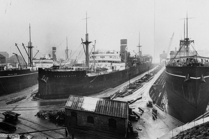 The Celtic Star, Fresno Star and Trojan Star at Smith's Dock , 1933