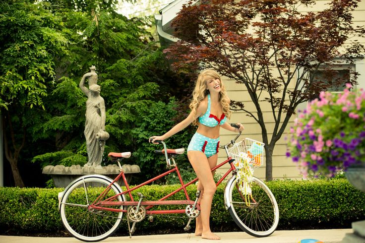 Aqua/red polka dot swim suit with bike