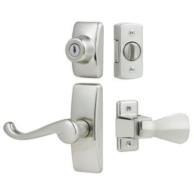 IDEAL Security Deluxe Storm and Screen Door Lever Handle and Keyed Deadlock in Satin Nickel - HK01-I-099 - The Home Depot  $33.99