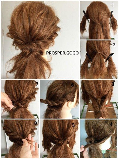 ラフなダウンスタイル♡下の方に作るポニーテールなので、サマーニットやハットにも相性◎ How tow... ①両サイドの髪を残して、後ろをゴムで結びます。 ②襟足の髪を左右に分けて結びます。(①の結び目の上になるように) ③ ②をくるりんぱします。 ④遅れ髪を残し、サイドの髪を上下に分けて、ねじります(=ツイスト編み)。 ⑤そのまま後ろまでツイストしたらピンで固定します。 ⑥残りのサイドも同様にツイストしてピンで固定。 ⑦毛束を指でつまんで、バランス良く引き出したら完成です♪*・゚