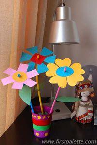 Shape Flowers Craft   Kids' Crafts   FirstPalette.com