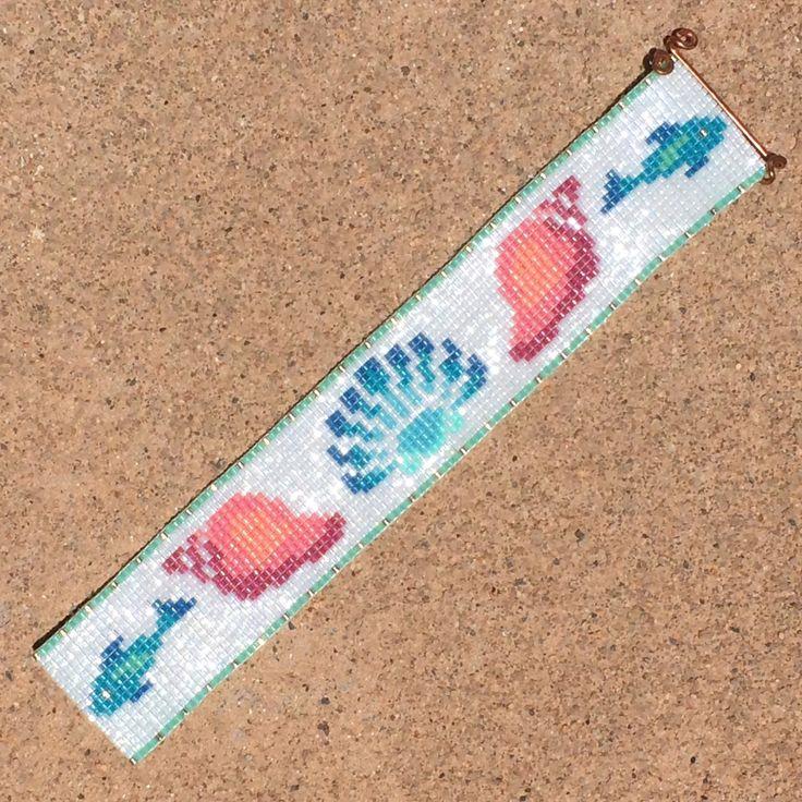 Down by the Sea Bead Loom Bracelet Artisanal by PuebloAndCo