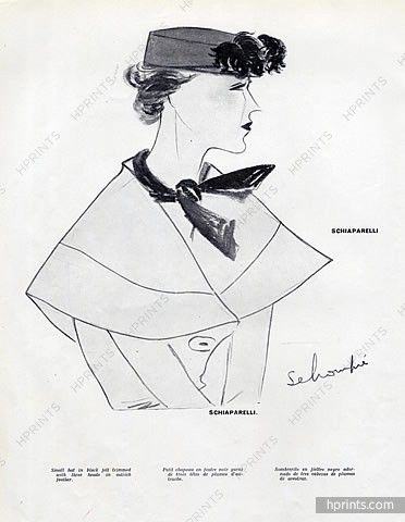 Schiaparelli 1934 Small Hat Ostrich Feather, Schompré