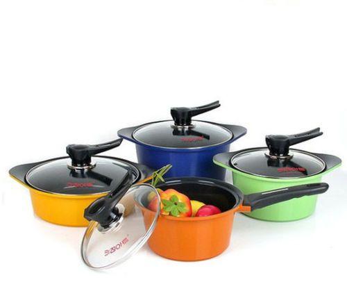 Kitchen Art Ceramic coating Casting pot 8piece Set Cookware Kitchen Nonstick