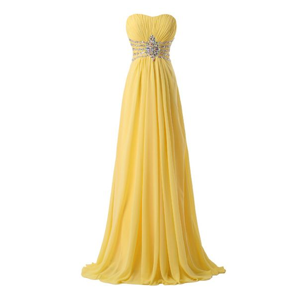 Sweetheart Neckline Long Yellow Prom Dress Real Photo Crystals Beaded Cheap…
