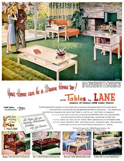 Vintage ad: Lane furniture, 1952