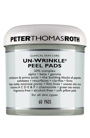 Peter Thomas Roth Unwrinkle Peel Pads:  Formulated with a 20% proprietary complex of alpha, beta and gamma exfoliators (including glycolic, salicylic, lactic and linoleic acids) and amino acids, which are the building blocks of peptides.