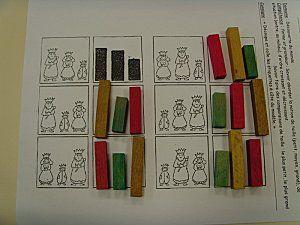 Petit, moyen, grand. Utilisé en classe avec des cartessilhouettes au lieu des bâtons.